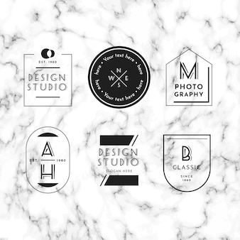 Minimal logo collection on marble background