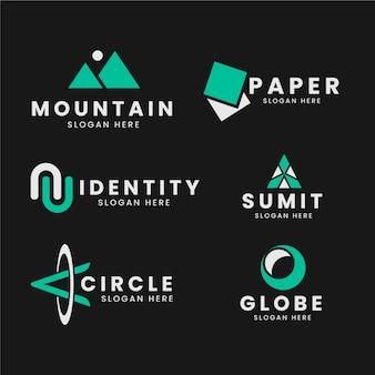 2色の最小限のロゴコレクションテンプレート