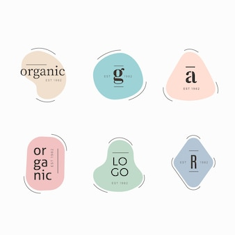 Minimal logo collection template with pastel colors