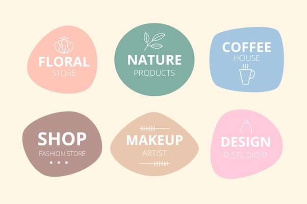 Minimal logo collection with pastel colors