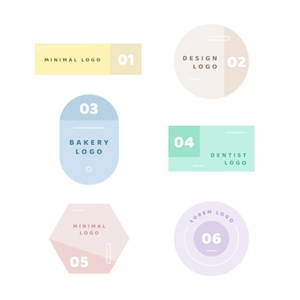 Minimal logo collection with pastel colours