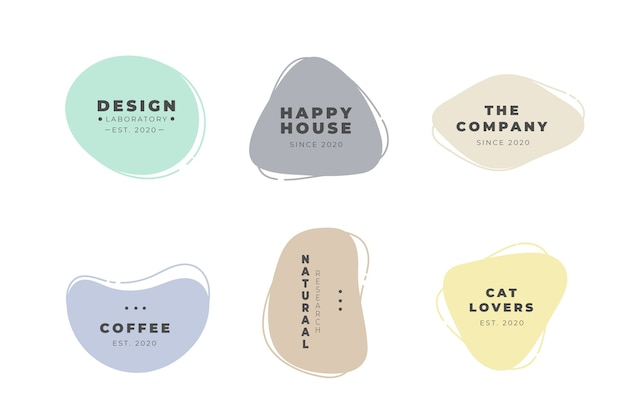 Minimal logo pack template with pastel colors