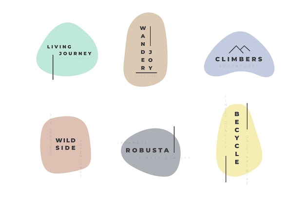Minimal logo set template with pastel colors