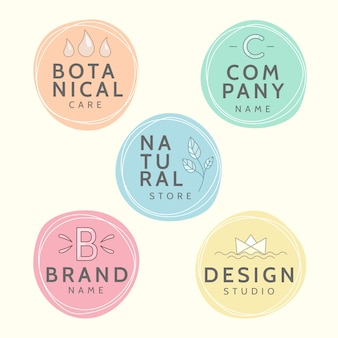 Minimal logo set with pastel colors