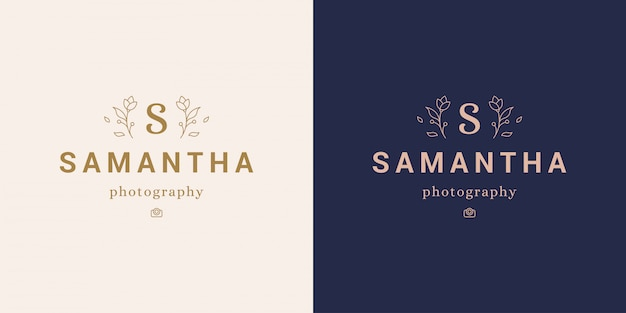 Minimal logo with elegant flowers and s letter