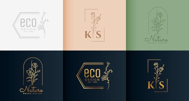Collezione di logotipi minimali in stile floreale
