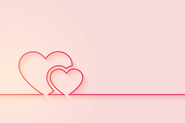 Minimal love hearts background with text space