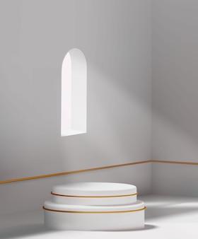 Минимальный роскошный белый пустой подиум