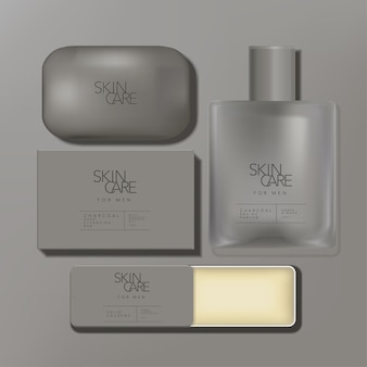 Minimal mens grooming set with charcoal soap bar wash, perfume bottle and solid cologne tin box packaging