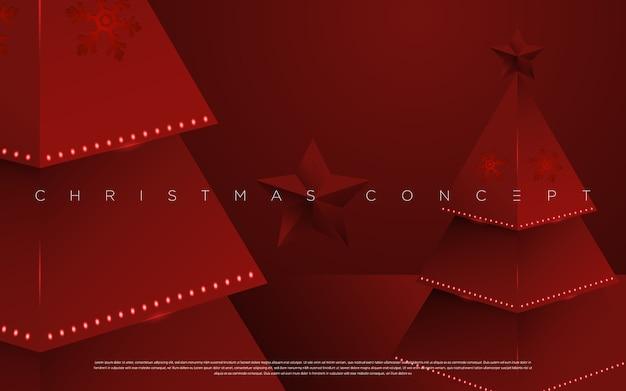 グリーティングカード、メーリング、ポスター、新年の要素の赤い背景の上の最小限のメリークリスマスの松の木。 。