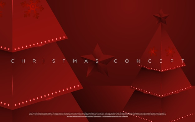 Minimal merry christmas pine tree on the red background for greeting cards, mailing , poster and new year elements .  .