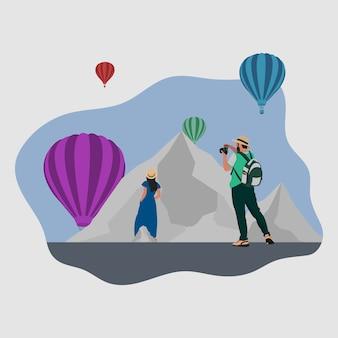 Minimal modern adventure travel illustration background