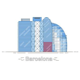 最小限のモダンなバルセロナシティ線形スカイライン-都市の建物の概要、線形イラスト、旅行のランドマーク