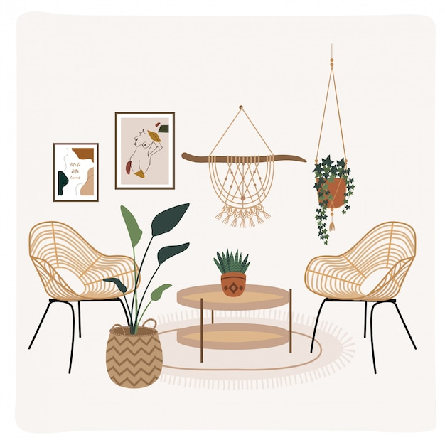 Minimal modern bohemian style interior home decoration. illustration of furniture, plants, wall art decor setting.