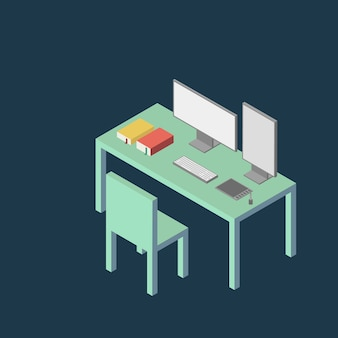 Minimal modern flat isometric style computer table illustration background