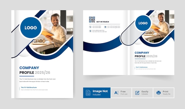 Minimal modern pages bi fold brochure cover page design template colorful abstract creative layout