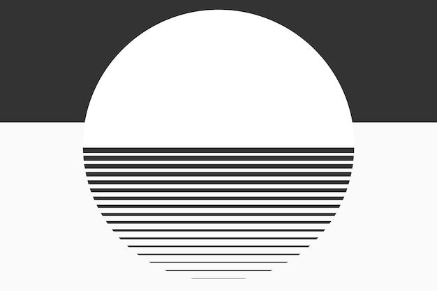 Sfondo estetico geometrico della luna minima in bianco e nero Vettore gratuito
