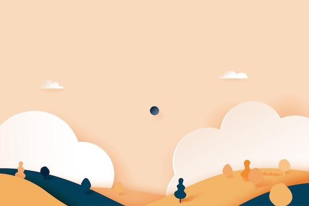 最小限の自然風景風景バナー背景紙アートスタイル。ベクトルイラスト。