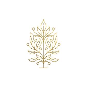 葉と成長する木のアウトラインロゴデザインテンプレートの最小
