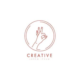 Minimal ok hand sing logo template in trendy linear minimal style