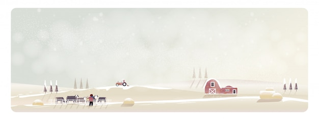Minimal panorama vector illustration of countryside landscape in winter