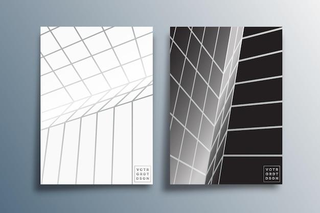 Шаблон минимальных перспективных линий для брошюры, обложки флаера, абстрактного фона, дизайна плаката или другой полиграфической продукции. векторная иллюстрация.