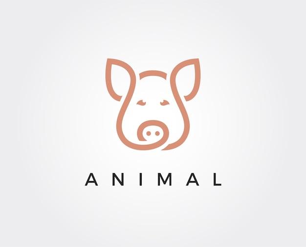 최소한의 돼지 로고 템플릿