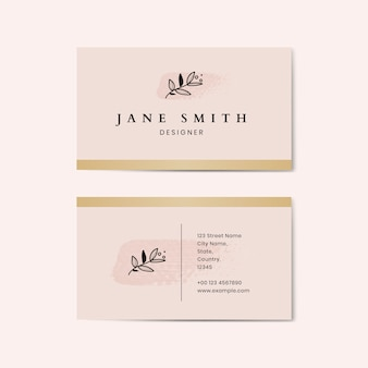 Minimal pink business card template vector