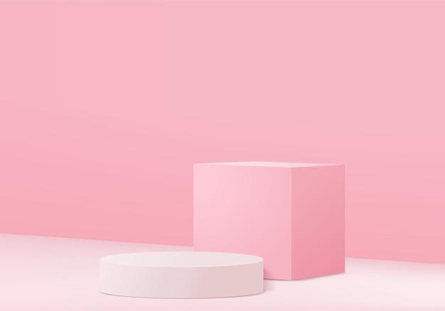 最小限のピンクの表彰台と抽象的な背景構成での3dレンダリングのシーン