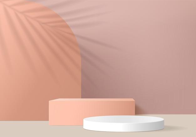 최소한의 핑크 연단과 3d 장면은 추상적 인 배경 구성에서 렌더링