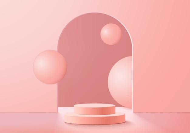 最小限のピンクの表彰台と抽象的な背景構成の3dレンダリングベクトルを使用したシーン、3dイラストは、製品表示用のシーンジオメトリシェイププラットフォームフォームをモックアップします。現代の製品の舞台。