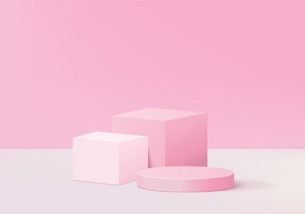 최소한의 핑크 연단과 추상 abackground 구성에서 렌더링 된 장면, 제품 표시를위한 그림 장면 기하학 모양 플랫폼 양식. 현대적인 제품을위한 무대.