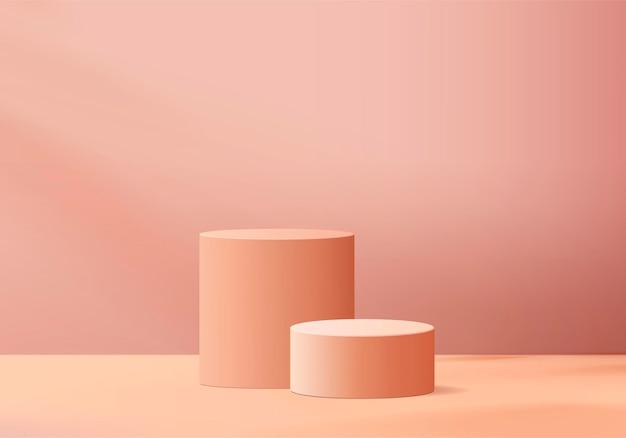 最小限のピンクの表彰台と抽象的な背景構成でレンダリングされたシーン、製品表示用のイラストシーンジオメトリシェイププラットフォームフォーム。現代の製品の舞台。