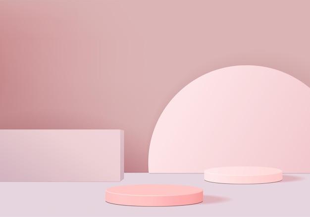 최소한의 핑크 연단과 추상적 인 배경 구성에서 렌더링하는 장면, 제품 디스플레이를위한 그림 장면 기하학 모양 플랫폼 형태. 현대적인 제품을위한 무대.