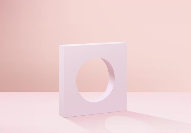 최소한의 분홍색 연단과 추상적 인 배경 구성에서 렌더링 된 장면, 제품 표시를위한 장면 형상 모양 플랫폼 형태. 현대적인 제품을위한 무대.