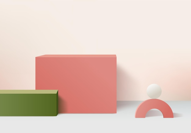 Minimal pink podium and scene with 3d render in abstract abackground composition, 3d illustration mock up scene geometry shape platform forms for product display. stage for product in modern.