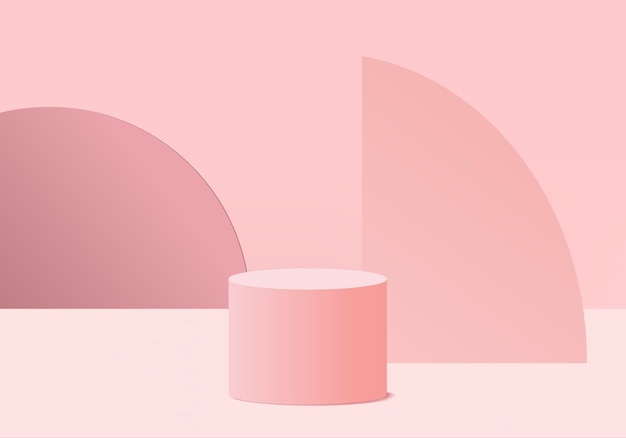 Minimal pink podium and scene with 3d render in abstract abackground composition, 3d illustration mock up scene geometry shape platform forms for product display.
