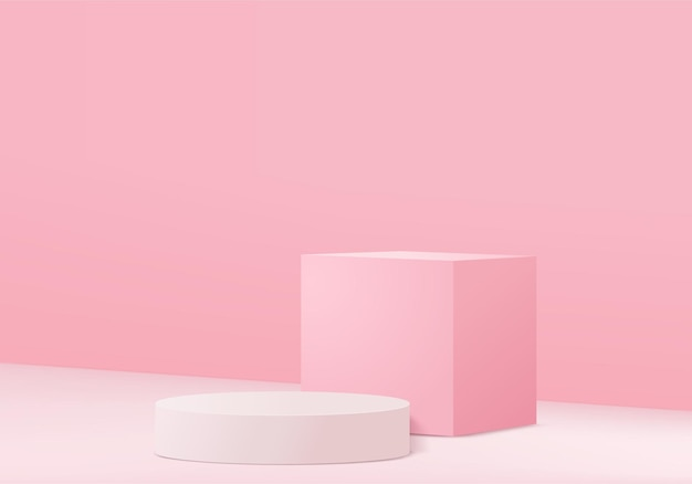Minimal pink podium and scene with 3d render   in abstract abackground composition