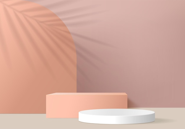 Minimal pink podium and scene with 3d render   in abstract background composition