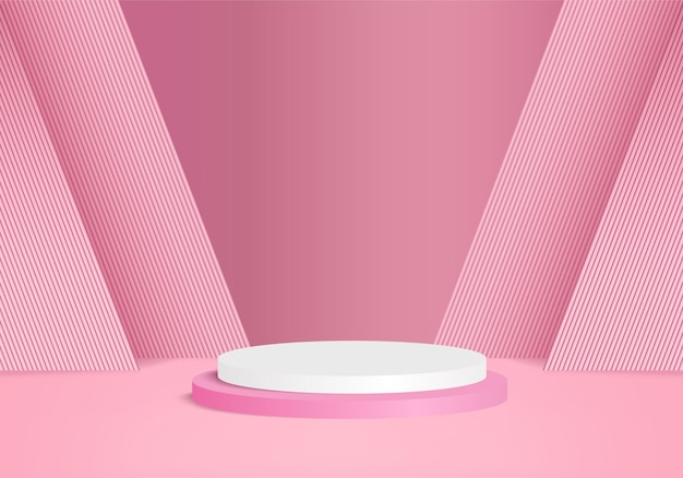 Minimal pink podium and scene with 3d render vector in abstract abackground composition
