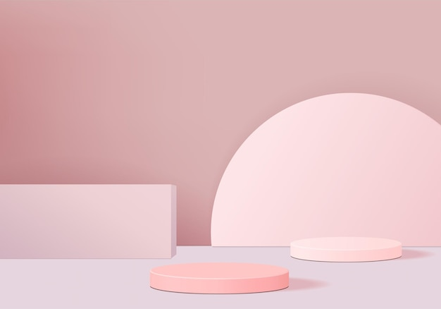 Minimal pink podium and scene with  render  in abstract background composition,  illustration  scene geometry shape platform forms for product display. stage for product in modern.