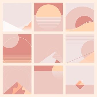 最小限のピンクの夕日の幾何学的な風景の背景コレクション