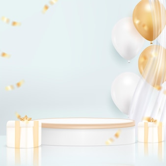 Minimal podium background with realistic balloon for celebration day
