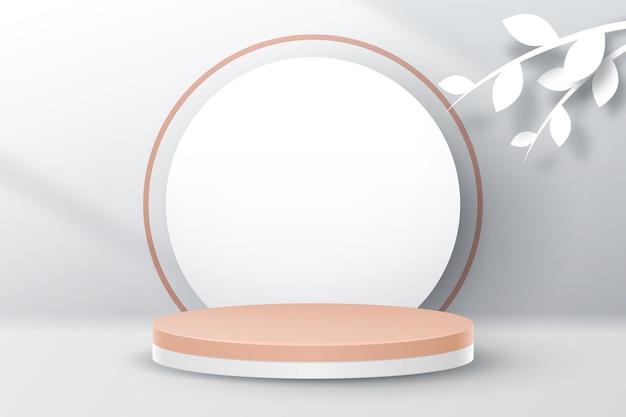 製品プレゼンテーション用の白い葉を持つ最小限の表彰台 Premiumベクター