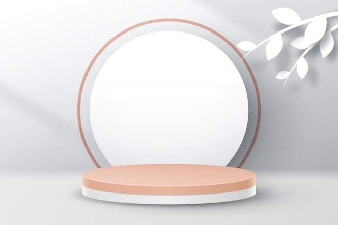 製品プレゼンテーション用の白い葉を持つ最小限の表彰台