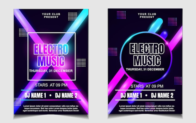 Minimal poster template for electro music festival with colorful light