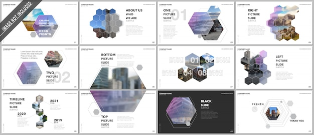 Minimal presentations design, vector templates with hexagons and hexagonal elements.