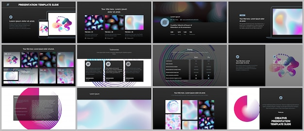 Minimal presentations, portfolio templates with geometric patterns, gradients, fluid shapes on black .
