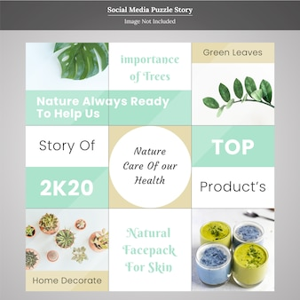 Minimal product story puzzle social media post template