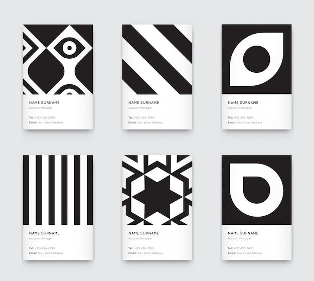 最小限のpropaedeutics黒と白のグラフィックトレンディな垂直名刺セット